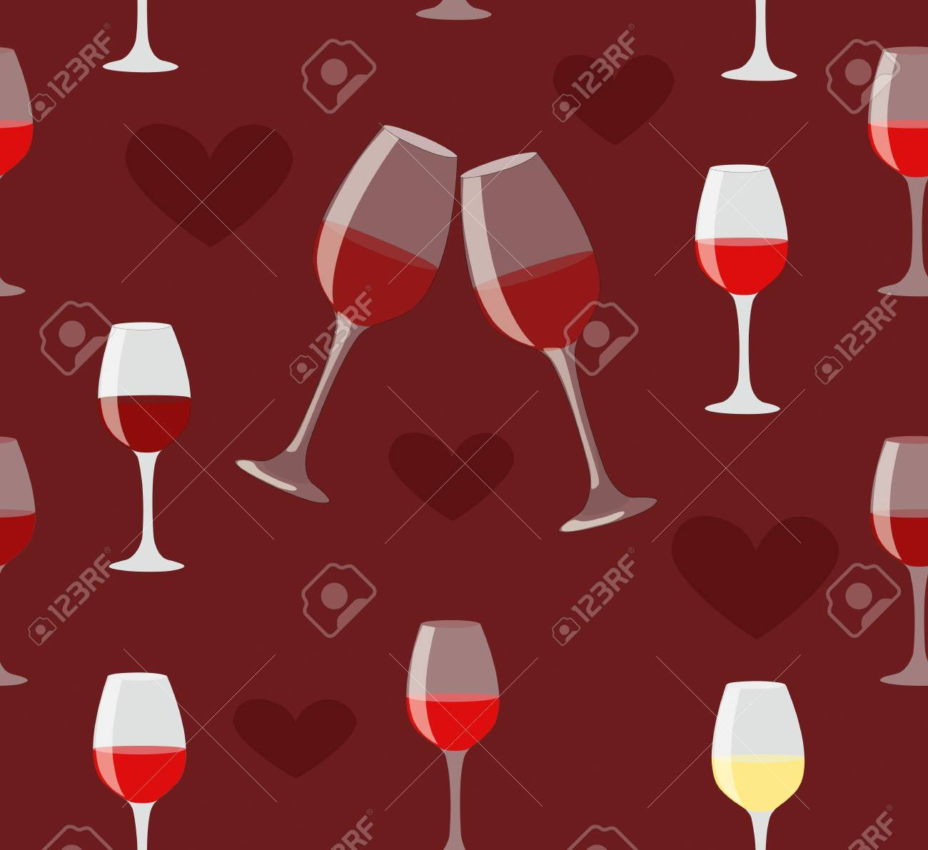 Glass of wine and heart seamless illustration on love dark red background Stock Vector - 14553757