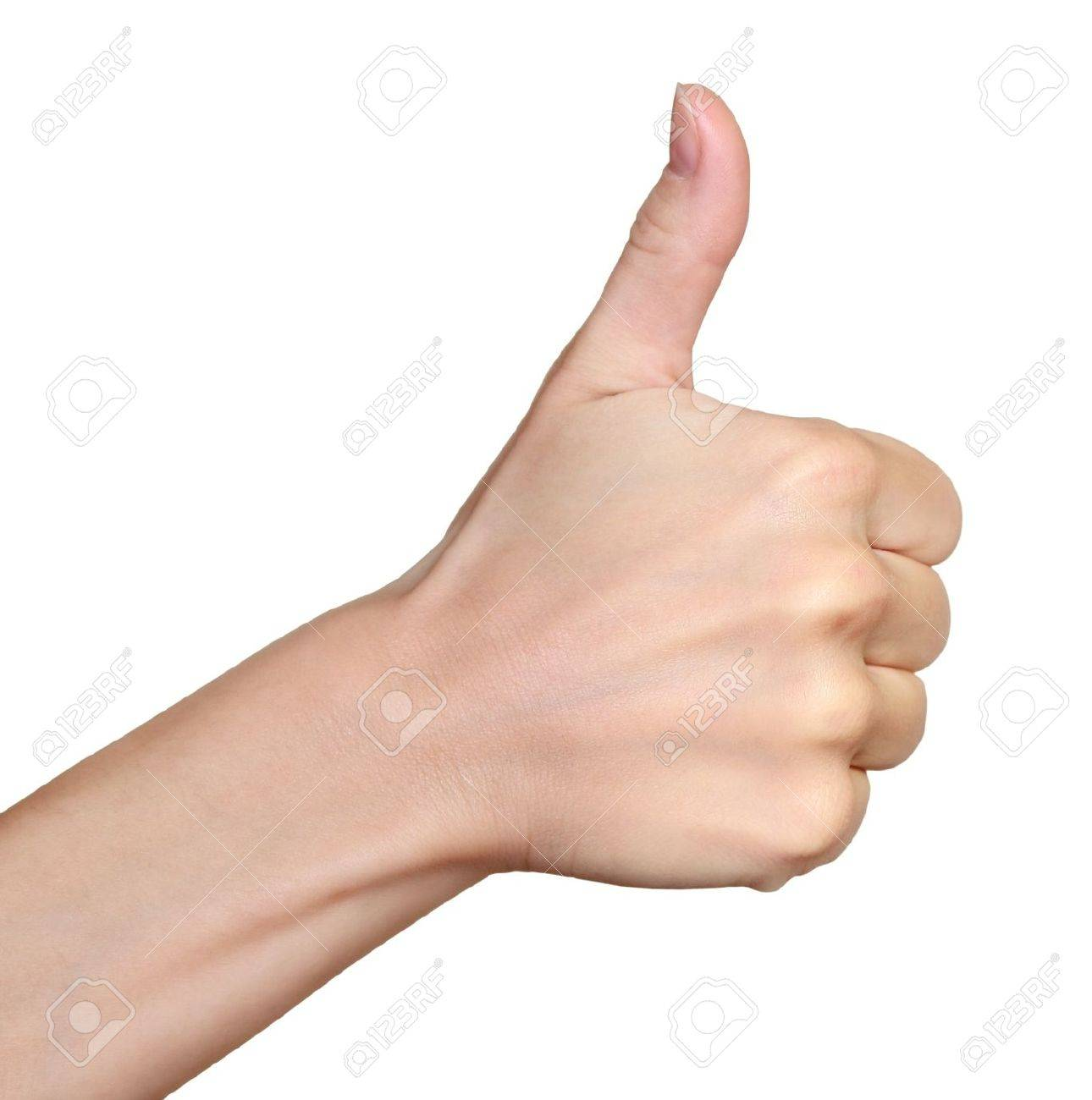 Hand with thumb up isolated on white background  Ok sign by woman Stock Photo - 16133369