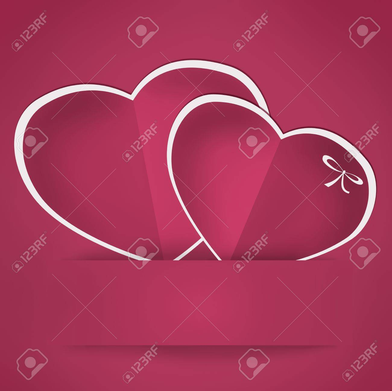 Hearts from paper valentine card with bow illustration  Vintage style Stock Photo - 16913411