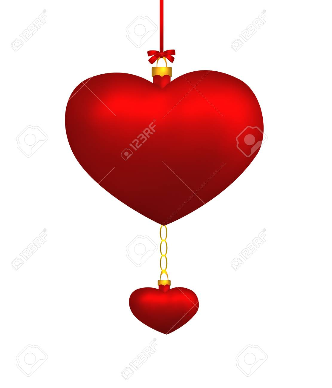 Two red hearts hanging isolated on white background  Illustration Stock Photo - 16978052