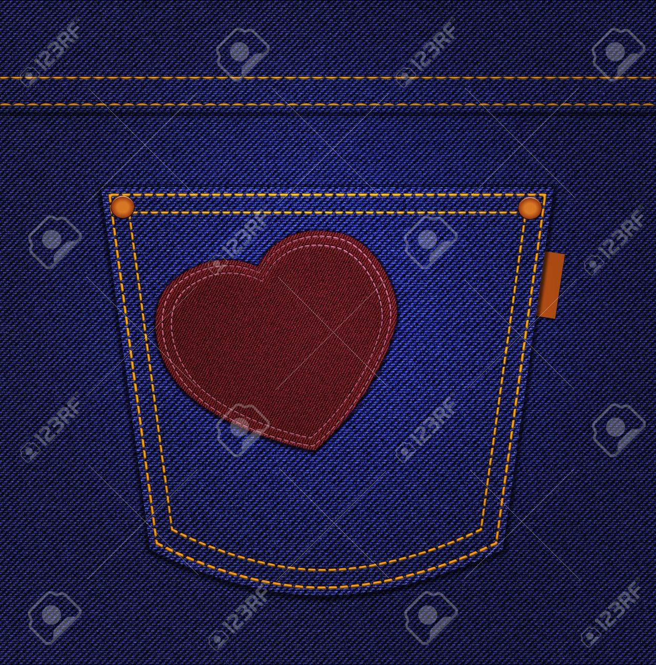 Red heart on jeans pocket on blue denim background Stock Photo - 17355454