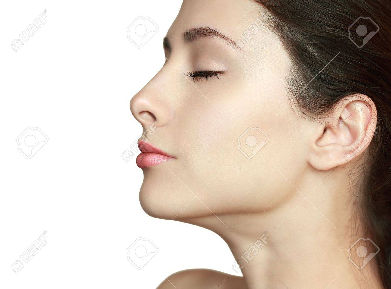 Beautiful woman profile with closed eyes isolated  Clean health skin face Stock Photo - 17646438