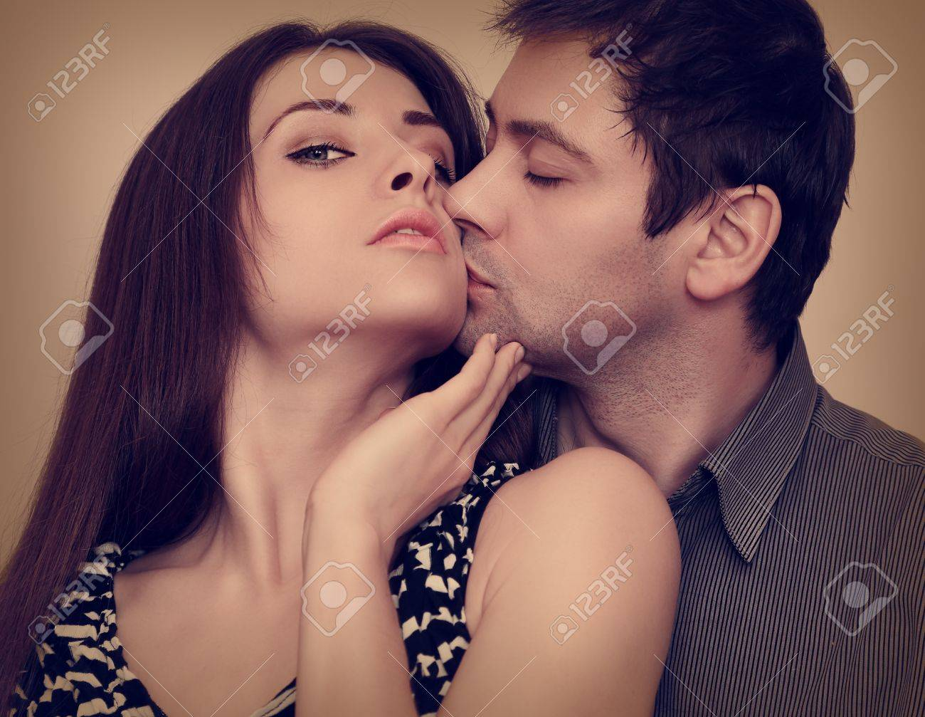 Passion portrait of sexy couple in love  Closeup Stock Photo - 18857115