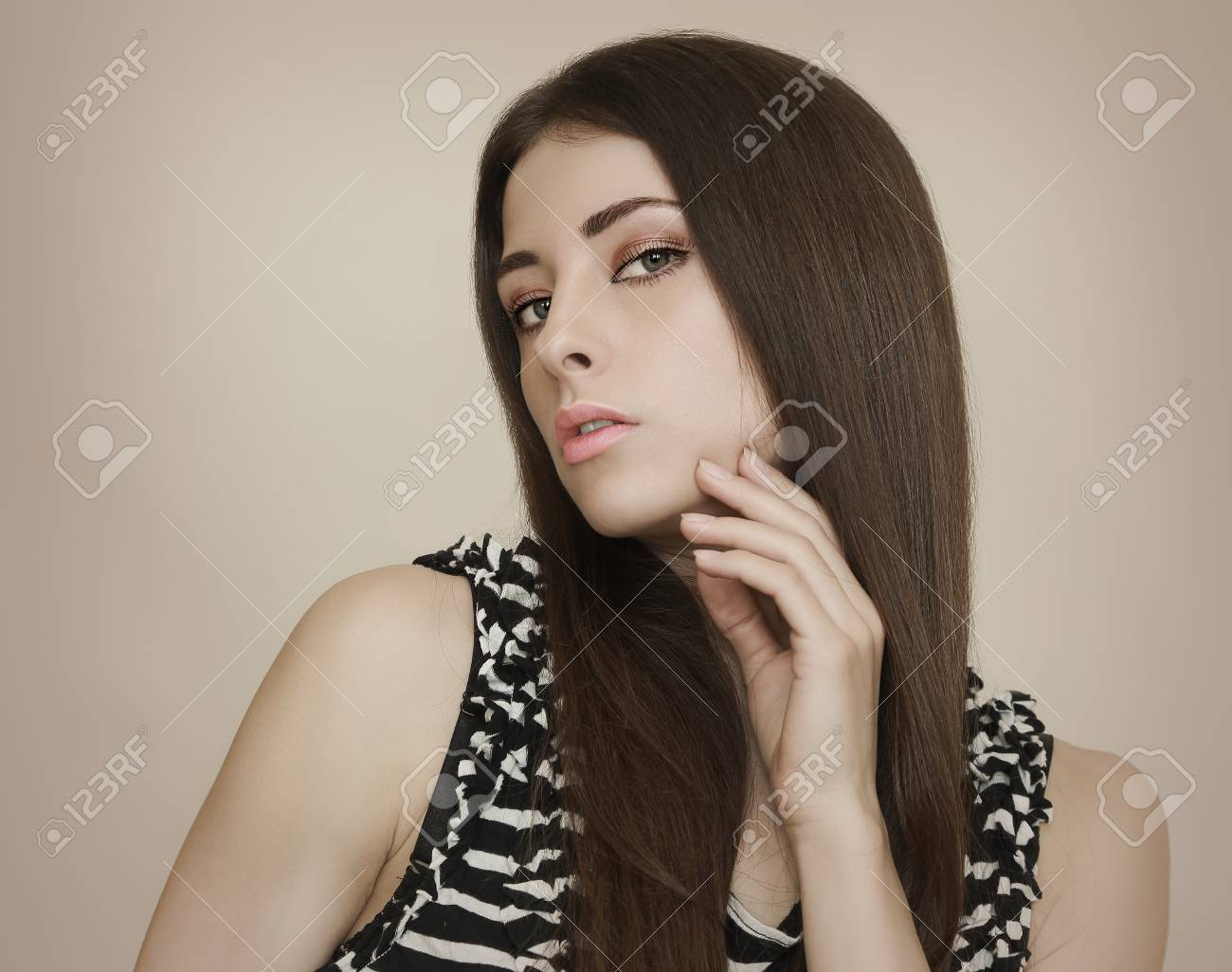 Portrait of beautiful woman with long hair and sexy look Stock Photo - 18857114