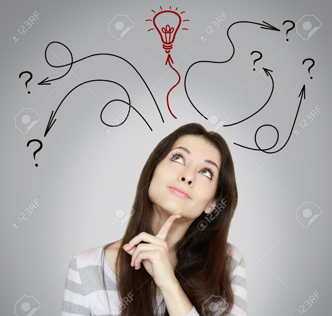 Thinking woman making decision and have an idea She looking up on grey background - 18969697