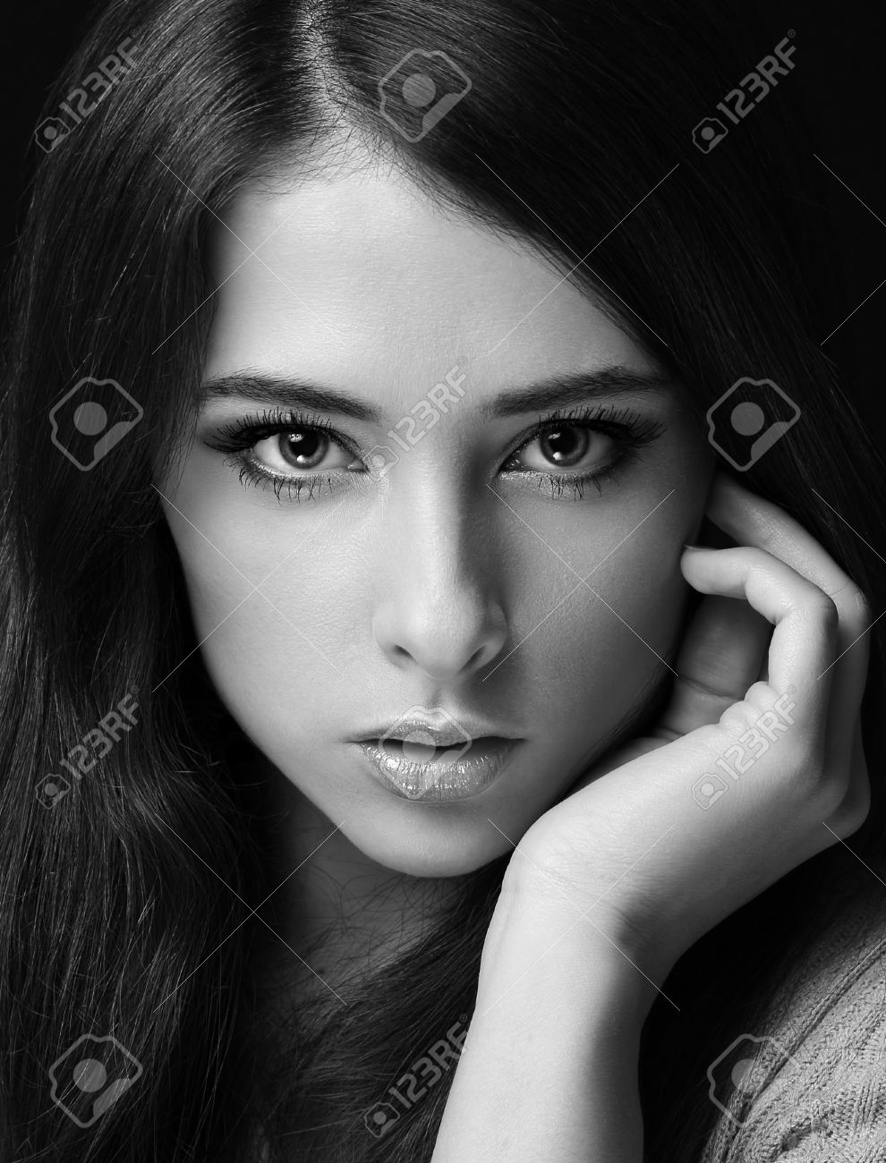 Sexy woman face closeup black and white portrait stock photo 24467381