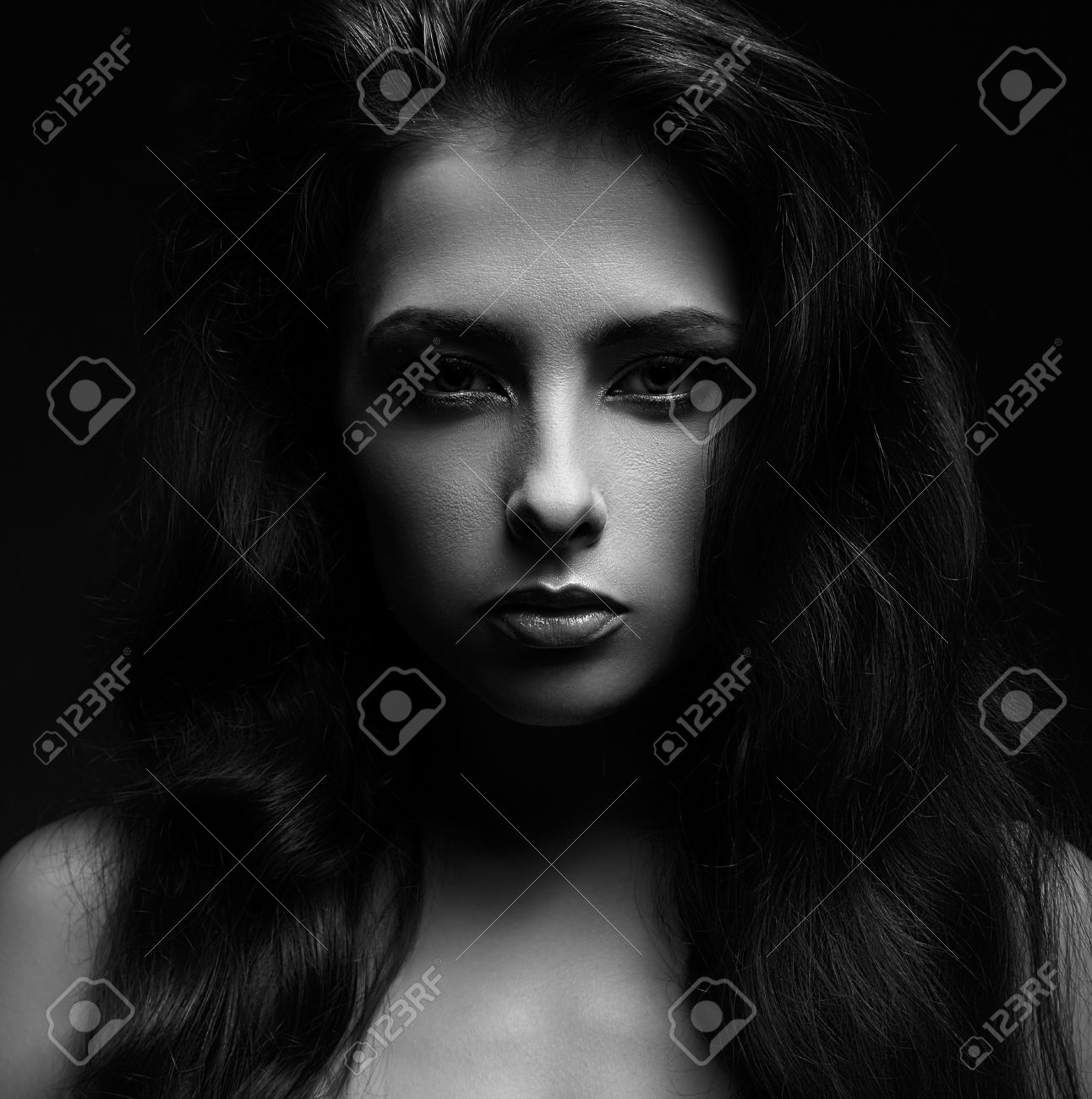 Beautiful woman face vogue portrait black and white stock photo 28649394