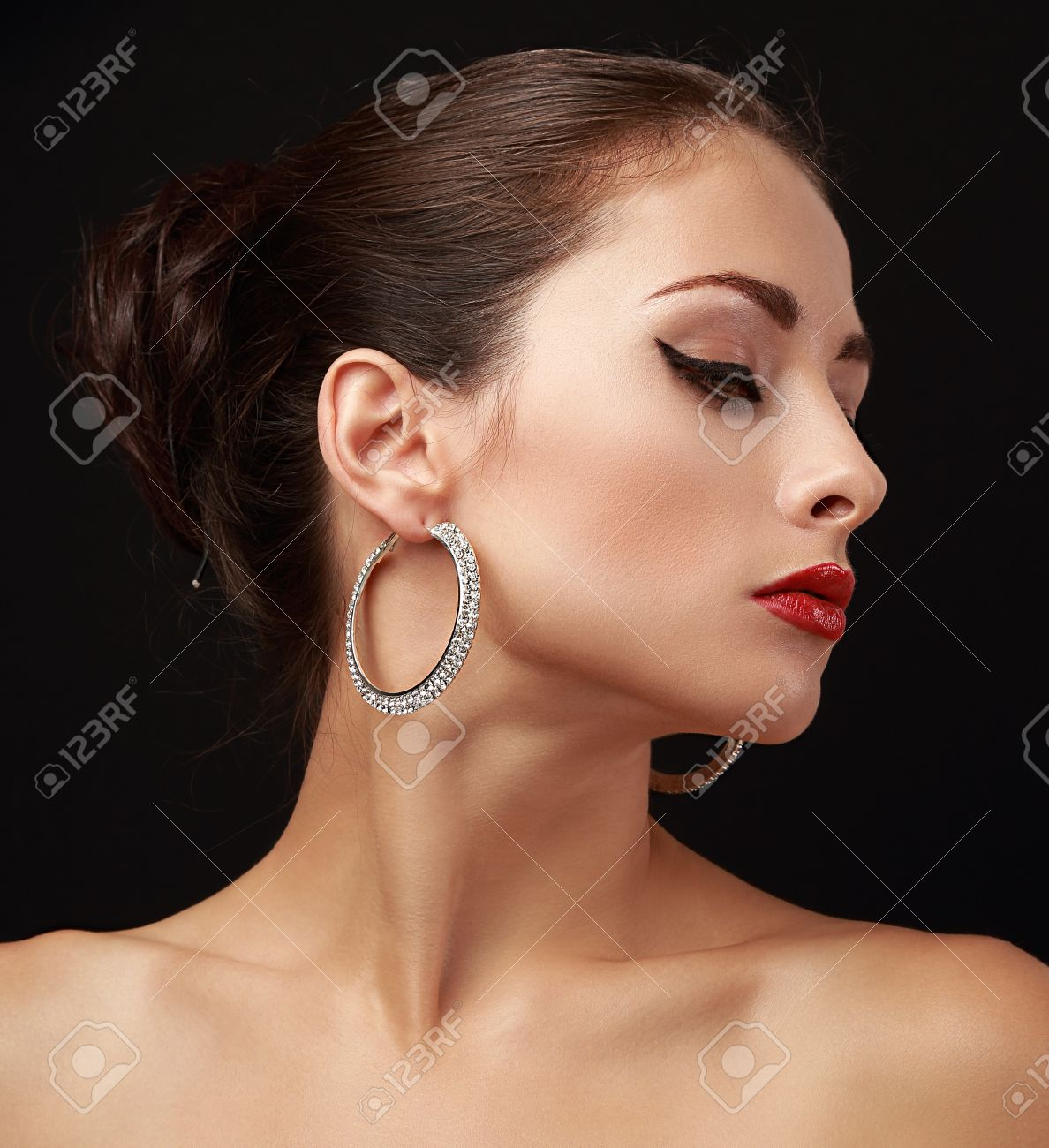 woman photo wearing earrings free and photoshoot rings pose more