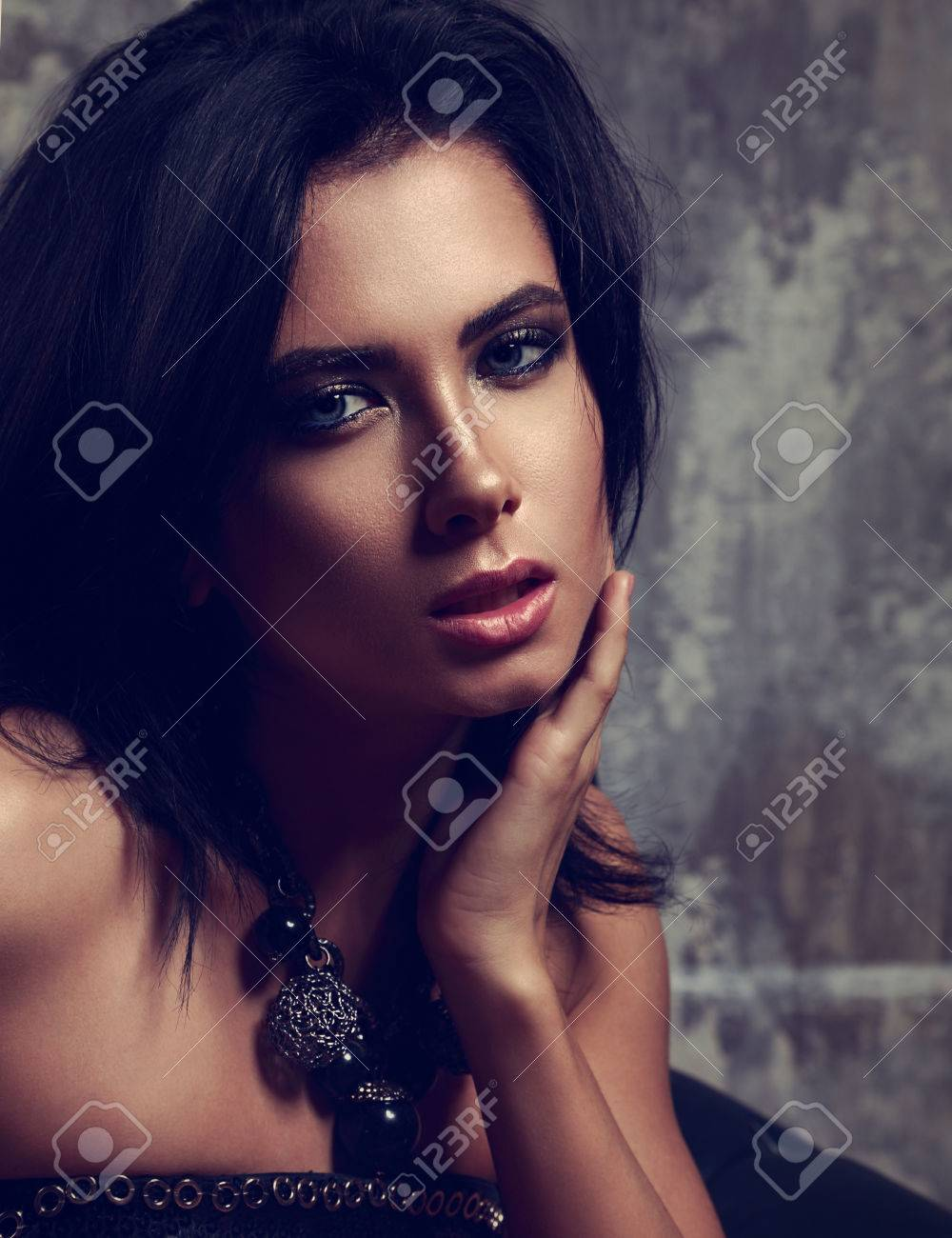 Beautiful Sexy Makeup Woman With Short Black Hair And Fashion
