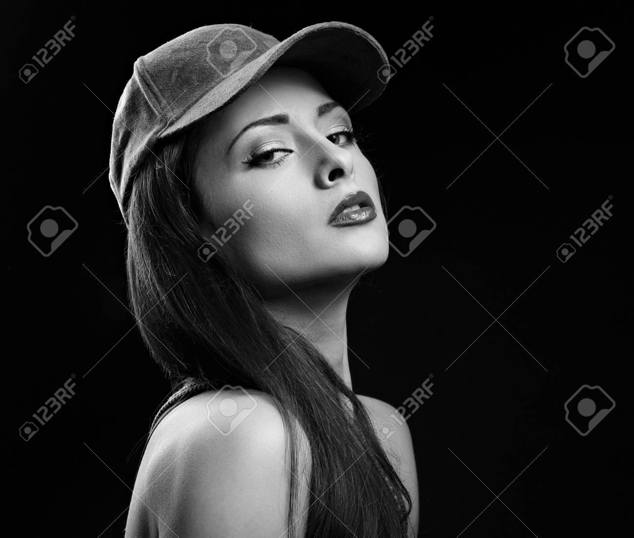 Sexy Young Make Up Cool Model Profile In Baseball Cap With Long