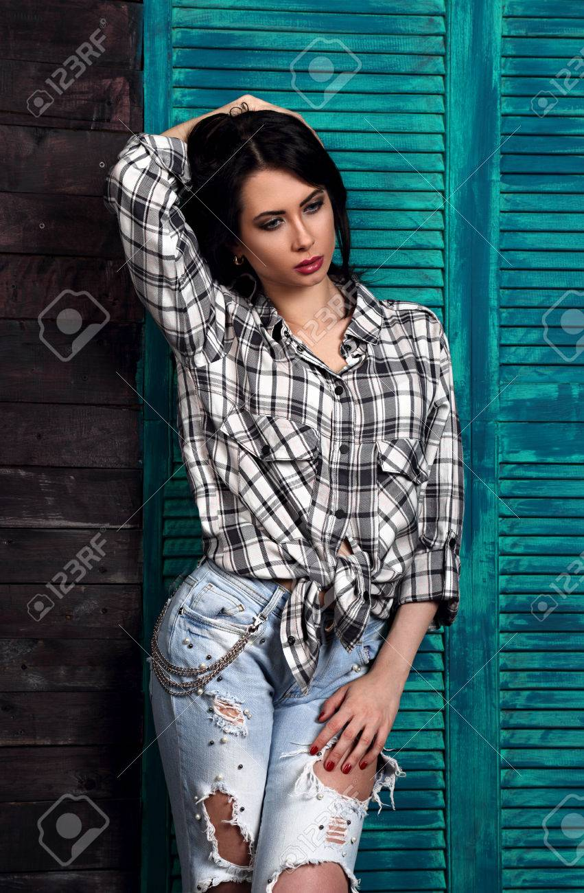 Beautiful Makeup Woman In Trendy Black And White Checkered Shirt