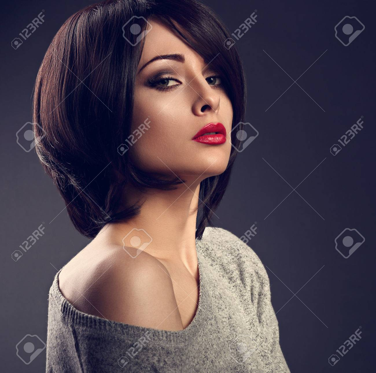 Beautiful Makeup Sexy Woman With Short Hair Style With Hot Red Stock Photo Picture And Royalty Free Image Image 83816870