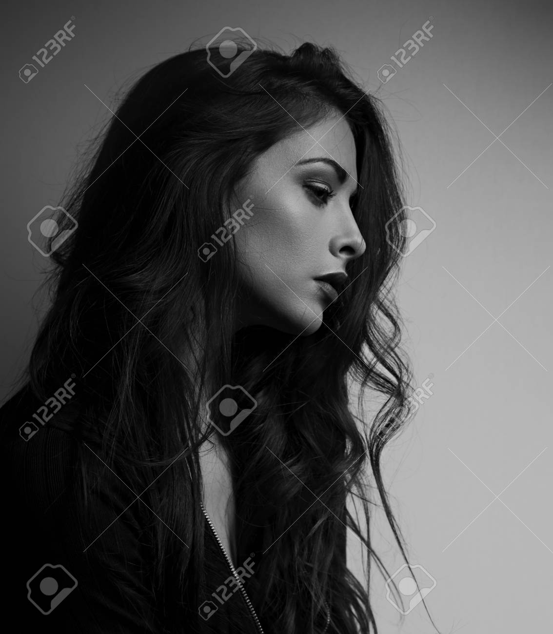 Thinking depression beautiful woman profile looking unhappy with