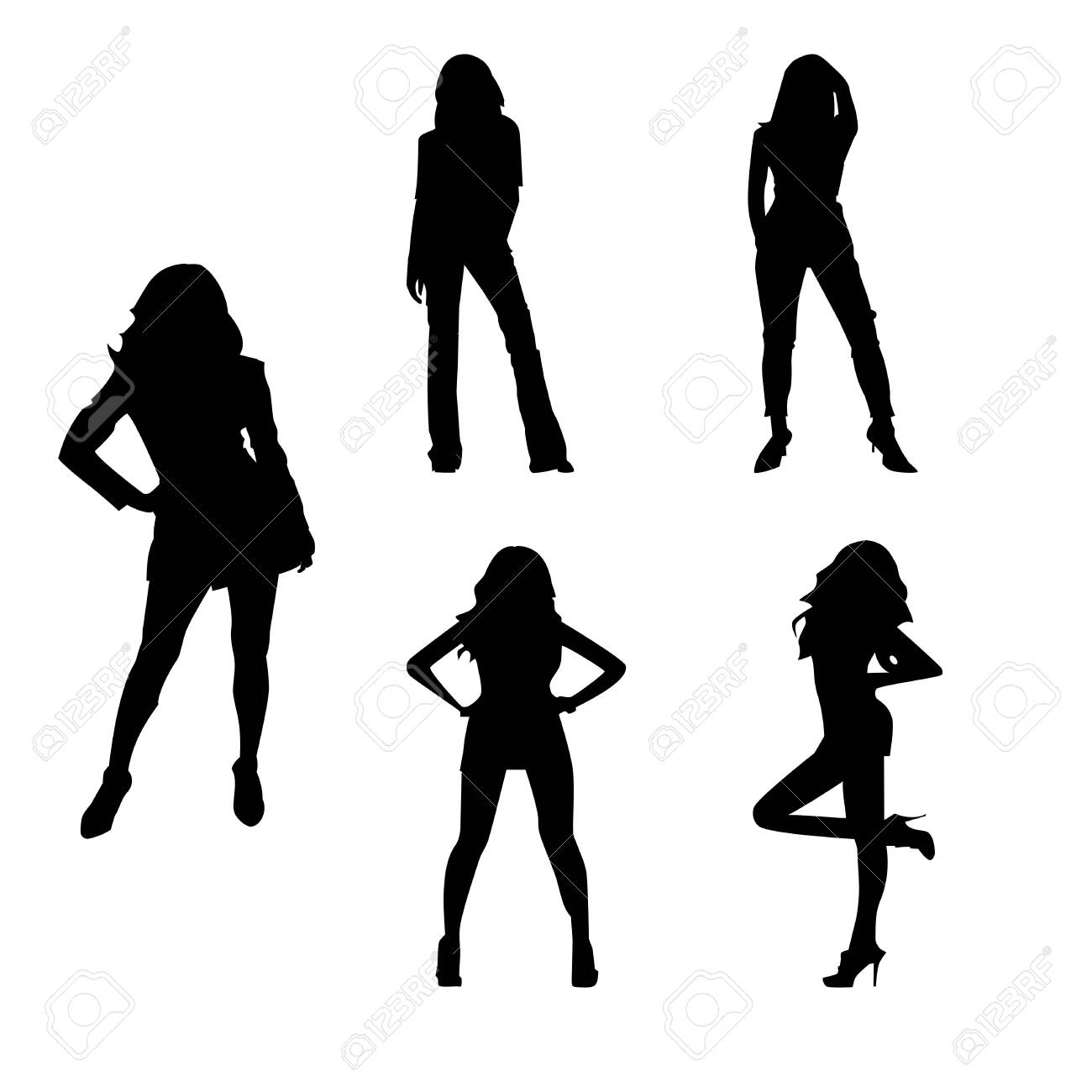 Set Silhouette of a woman vector - 140812914