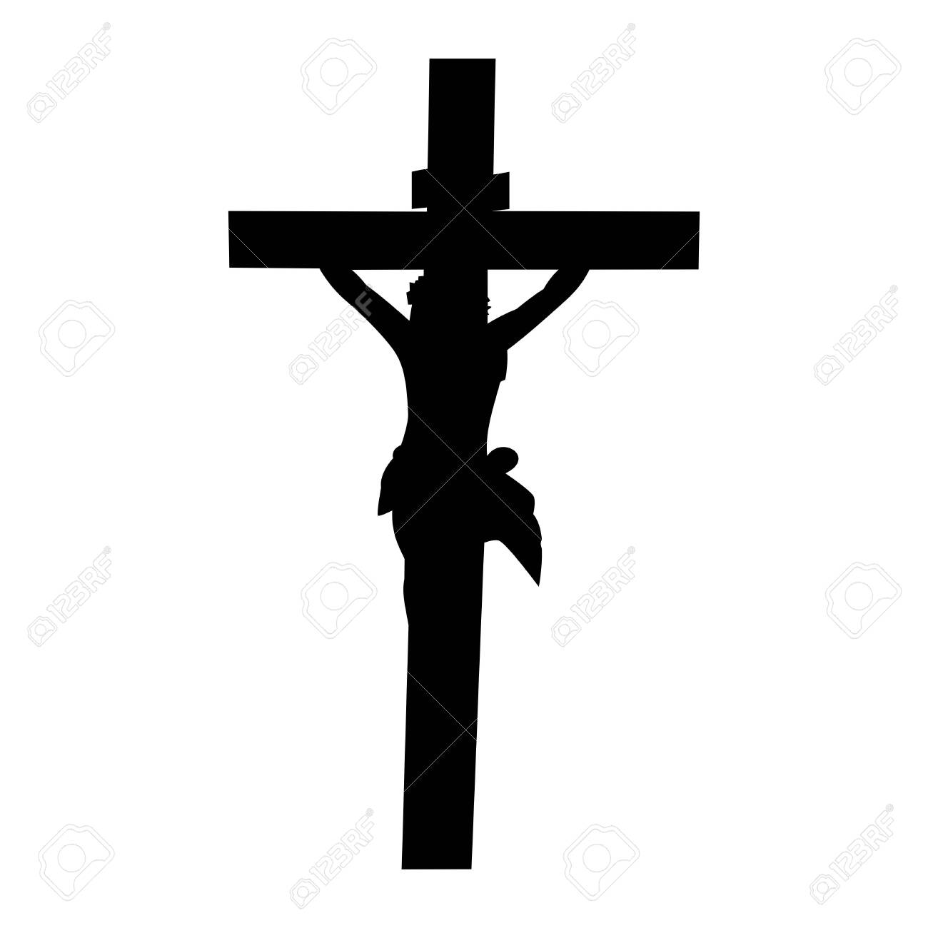 The silhouette of jesus crucified vector - 140812939