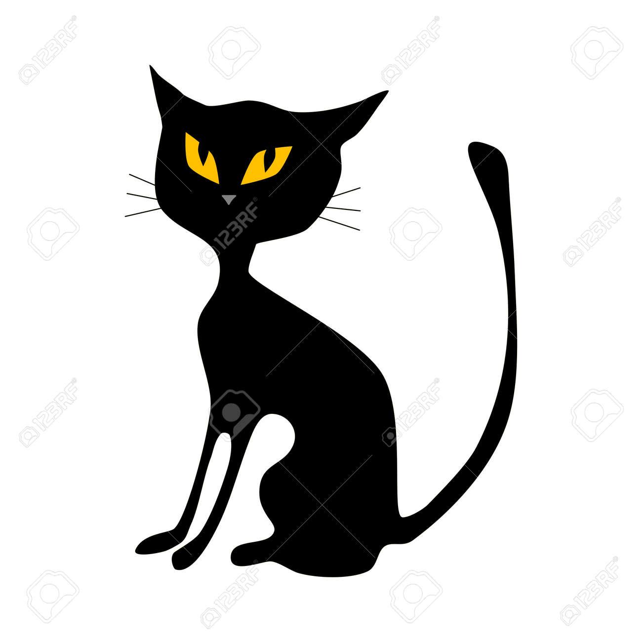 Black cat. halloween cat isolated on white background. vector illustration - 155462561