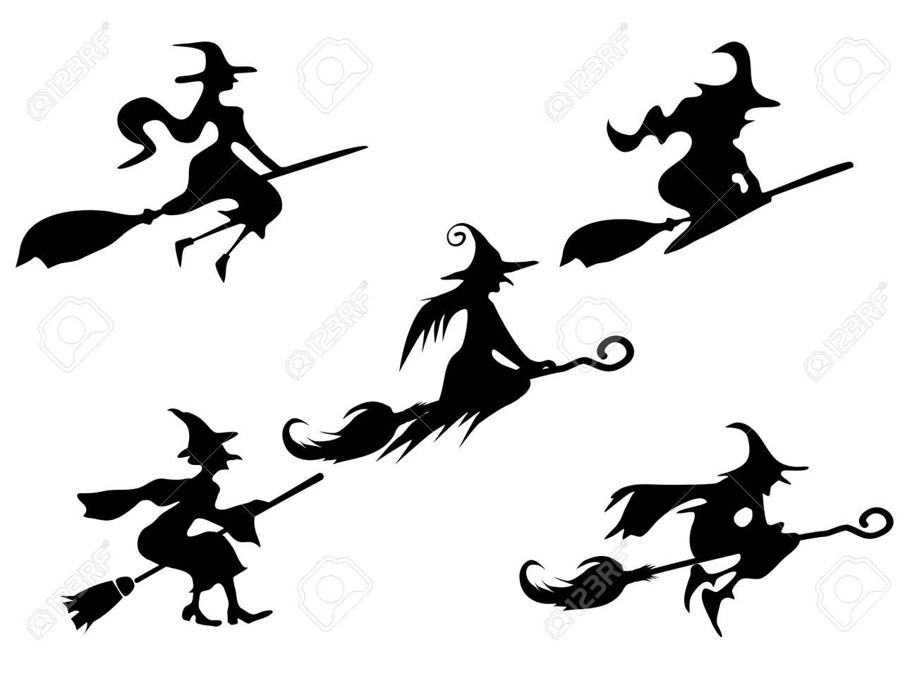 set of silhouettes Witch On Broomstick. for Illustration vector halloween - 155462650