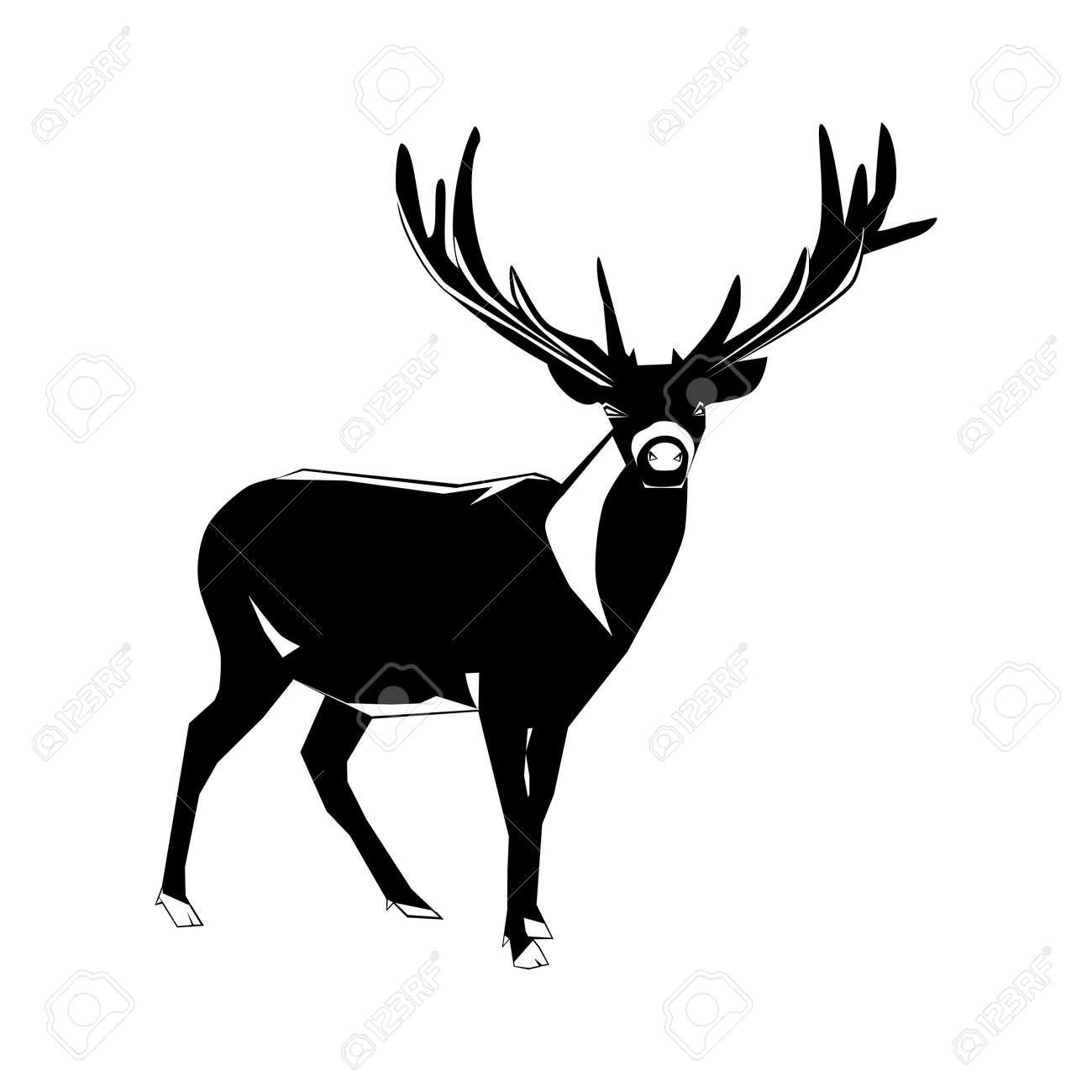 silhouette of deer isolated on white background. vector illustration eps - 157218316