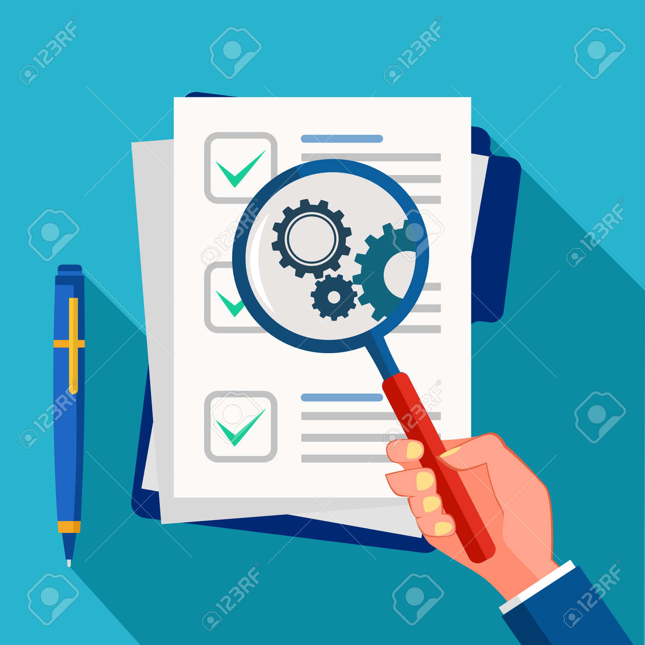 Business documents and magnifying glass. Business document analysis and review vector - 157081926
