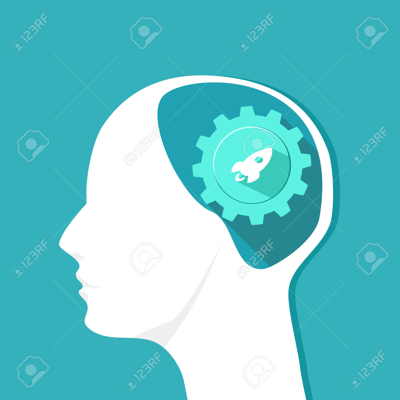 Rocket icon in the human head. Originality in the brain. Vector eps - 158089191