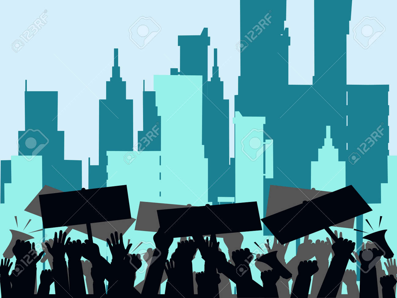 Protesters hands holding protest signs. crowd of angry people. crowd of people protesters. Vector illustration eps - 158353056