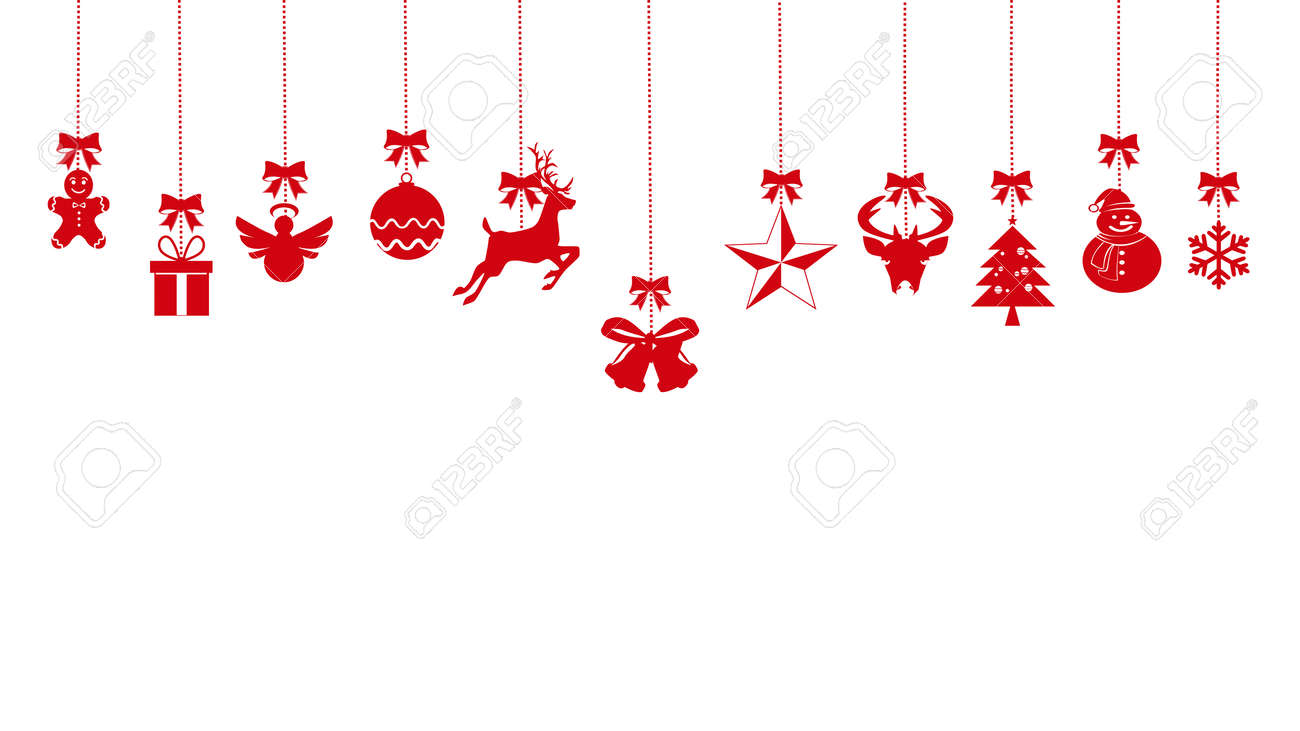 christmas ornaments hanging rope red. isolated on background. vector eps - 158987224