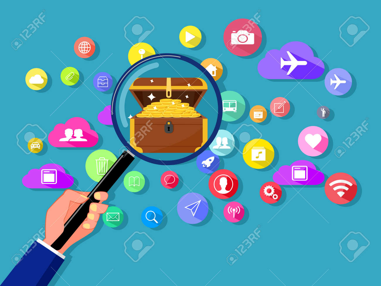Finding treasures on online communication networks. Vector illustration - 168017224