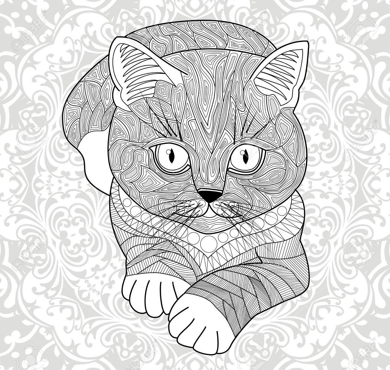 Plinth für T-Shirts, Vektor. Malvorlagen für Erwachsene, Anti-Stress-Hand  gemalt Katze mit Stammes-Muster. Abstrakte Mandala Blume.
