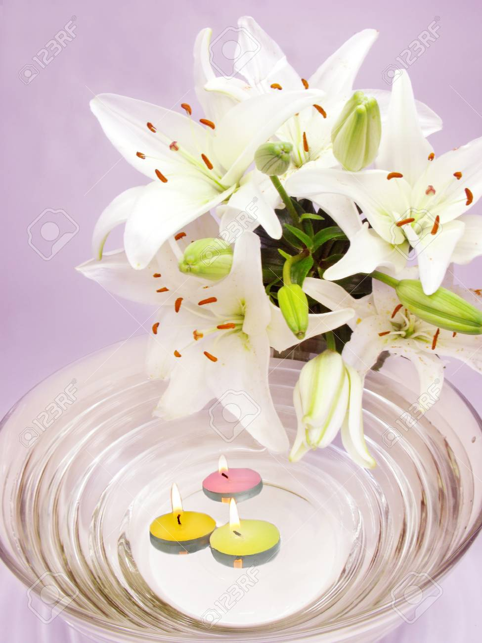 Spa lit candles lilies flowers health care treatment stock photo spa lit candles lilies flowers health care treatment stock photo 11331698 izmirmasajfo