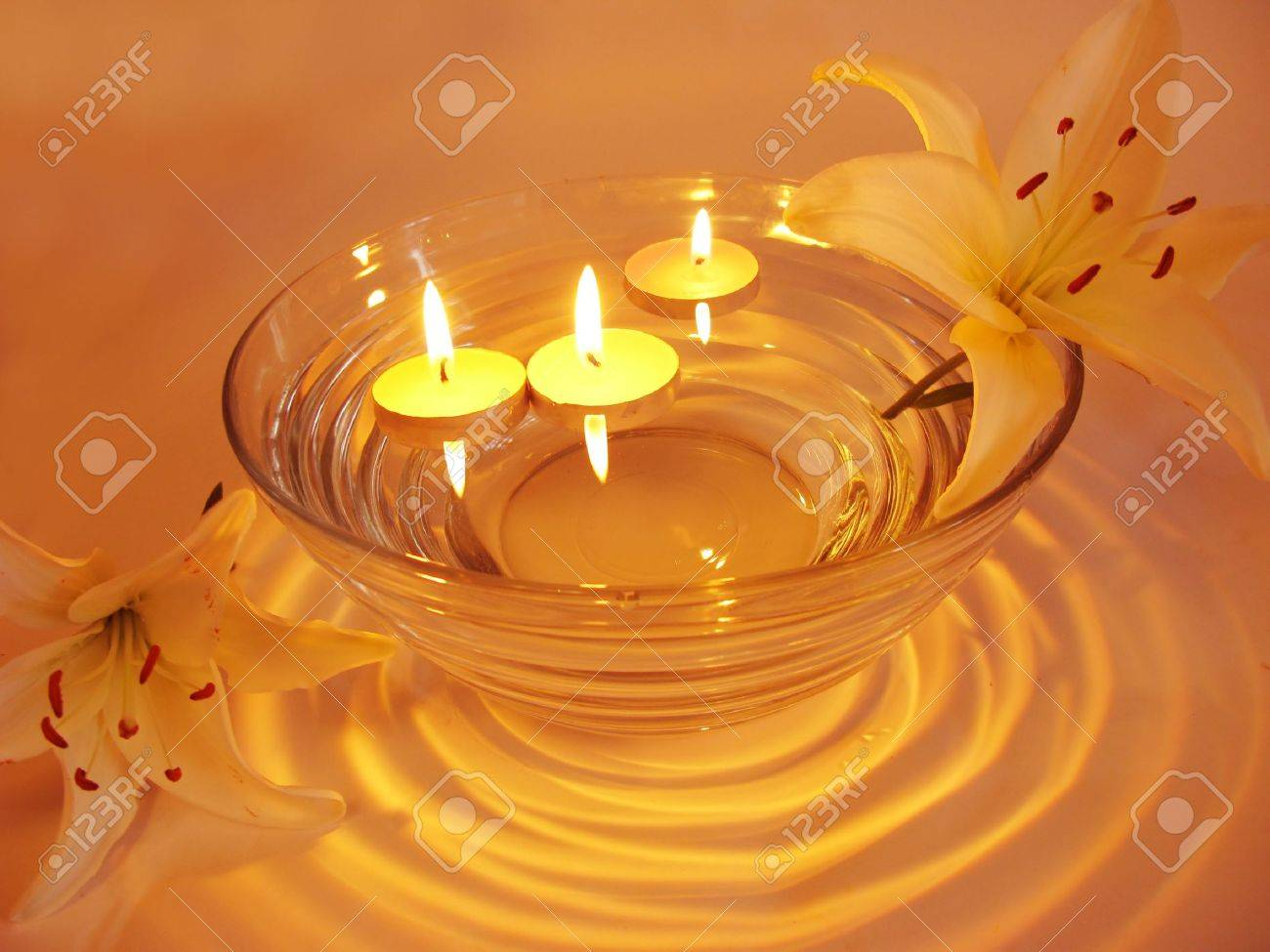 Spa Lit Candles Lilies Flowers Health-care Treatment Stock Photo ...