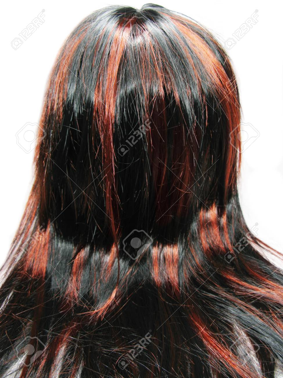 Highlight Hair Black And Red Texture Abstract Background Stock Photo