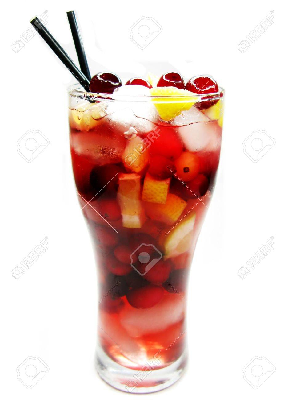 red fruit punch cocktail drink with cherry lemon and ice Stock Photo - 13834479