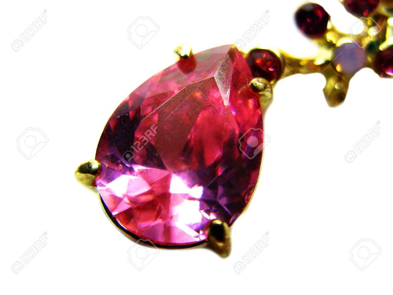 Gem Stone Ruby Diamond Jewel Luxury Fashion Jewelry Stock Photo