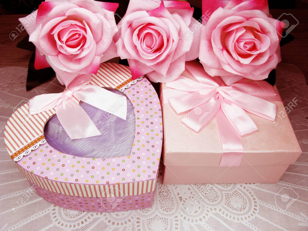 Love Mother S Day Gift Box With Rose Flowers Background