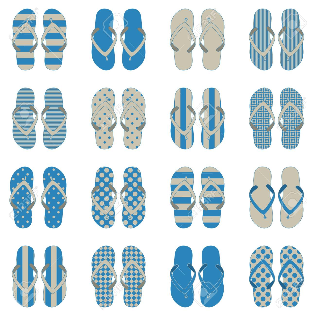 caef42dff Pop Art style flip flops in a colorful checkerboard design. Stock Vector -  37749834