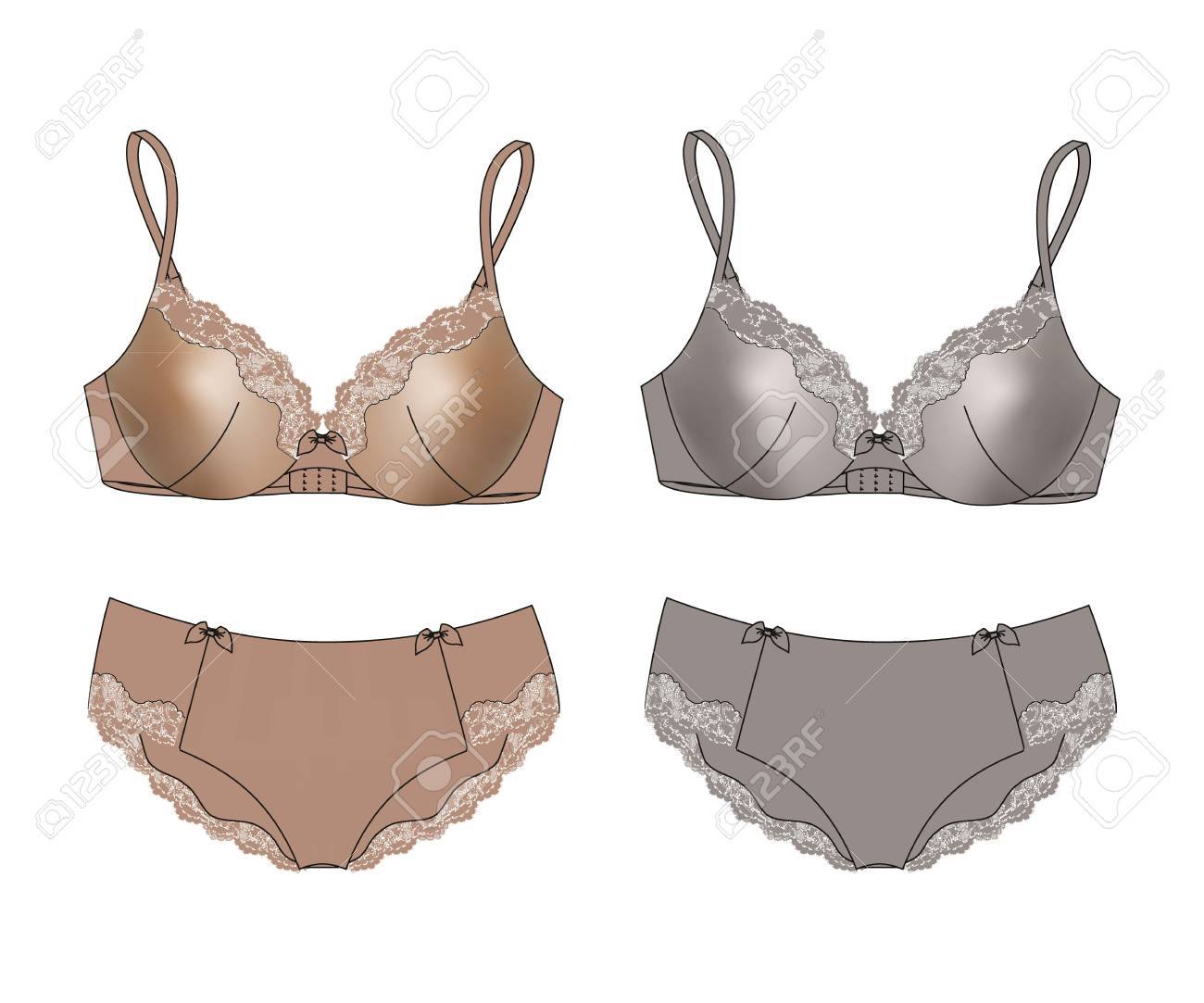 Sexy set of lingerie bra and panties isolated. Vector illustration Stock  Vector - 38014294 3928974e8