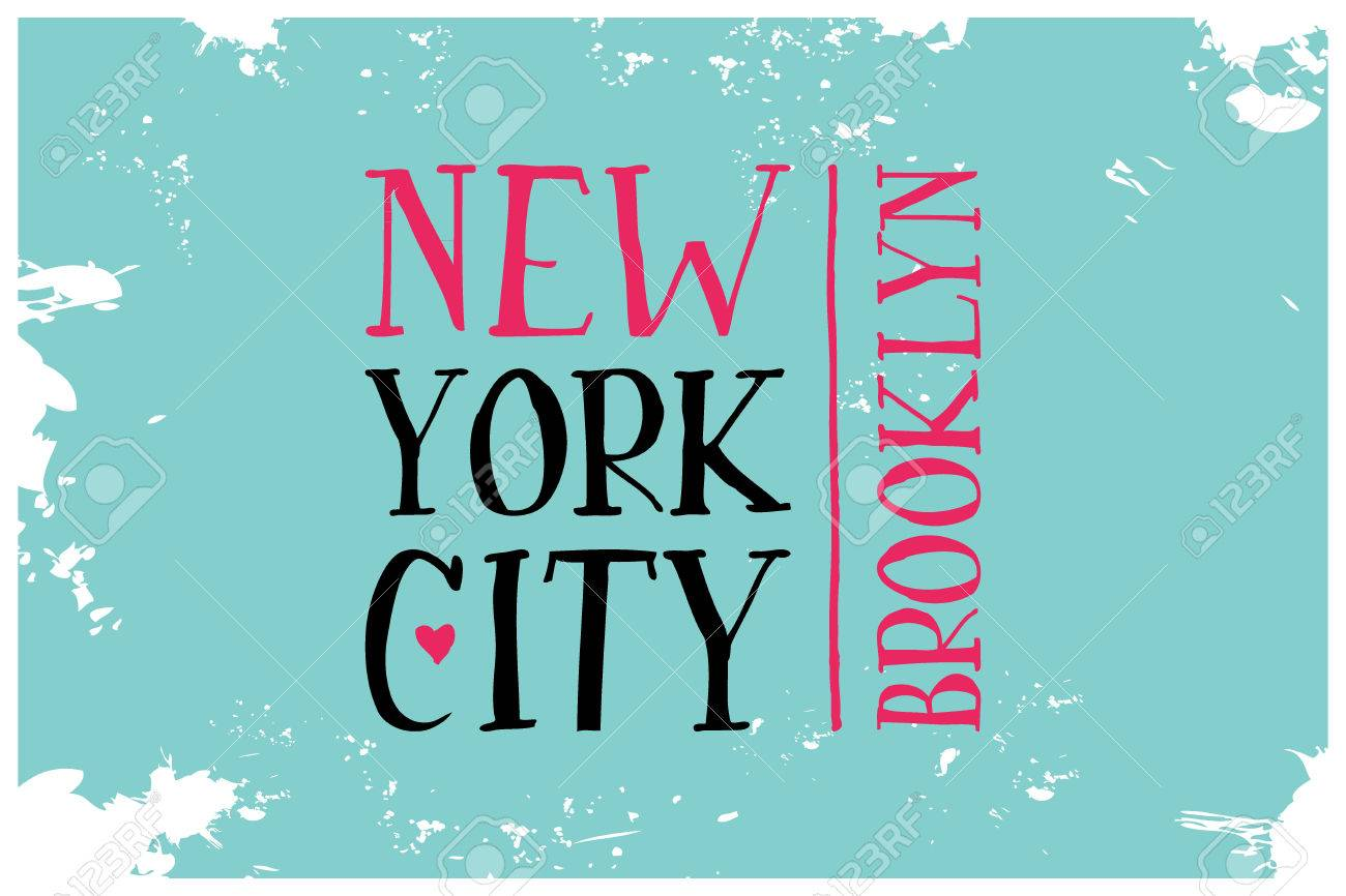 Vintage Touristic Greeting Card Brooklyn New York City Vector