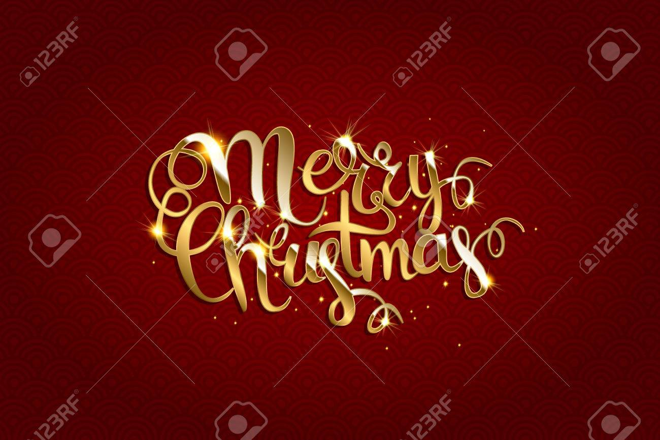 Merry Christmas Vector Text Xmas Greeting Card With Lettering