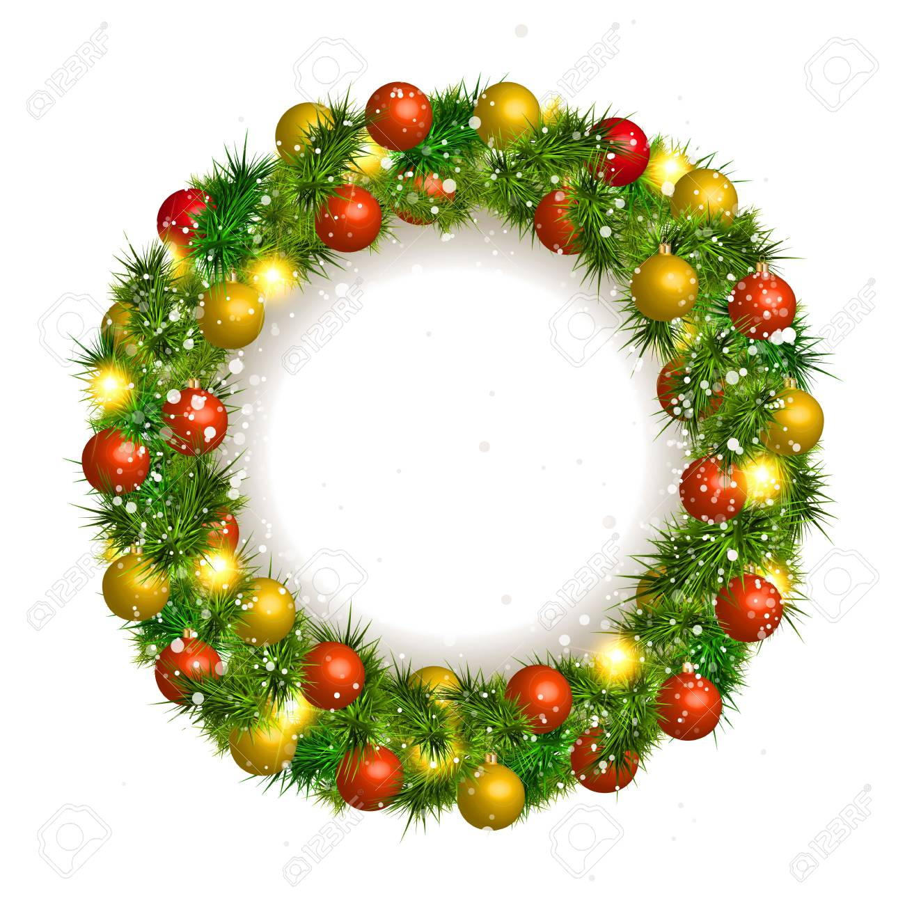 Christmas Wreath Vector Christmas Balls On White Background Royalty ...