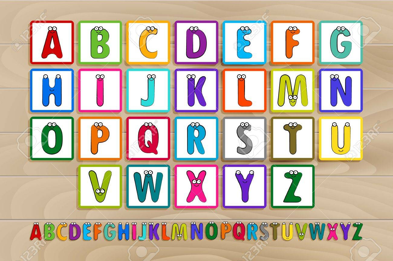 letter blocks vector illustration same view 26 letters of alphabet