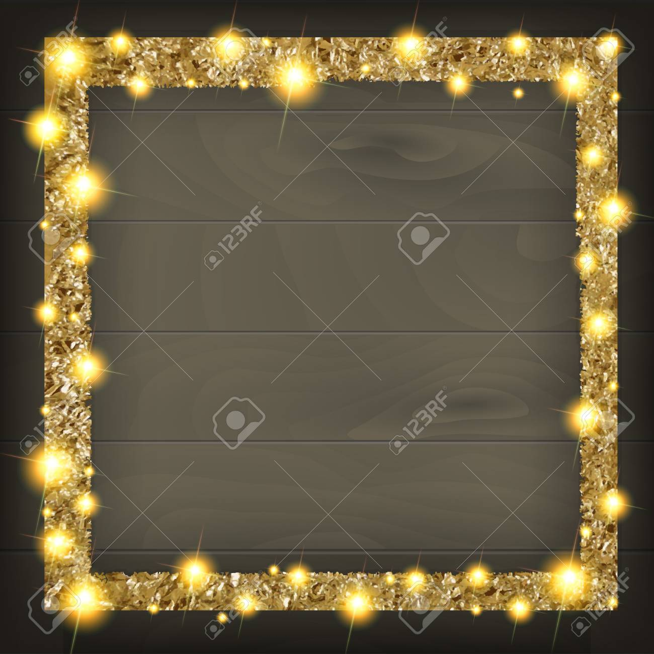 Square Gold Frame On A Wooden Background. Vector Illustration ...