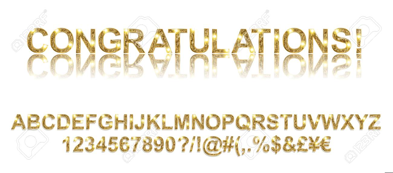 Congratulations  Gold alphabetic fonts and numbers on a white