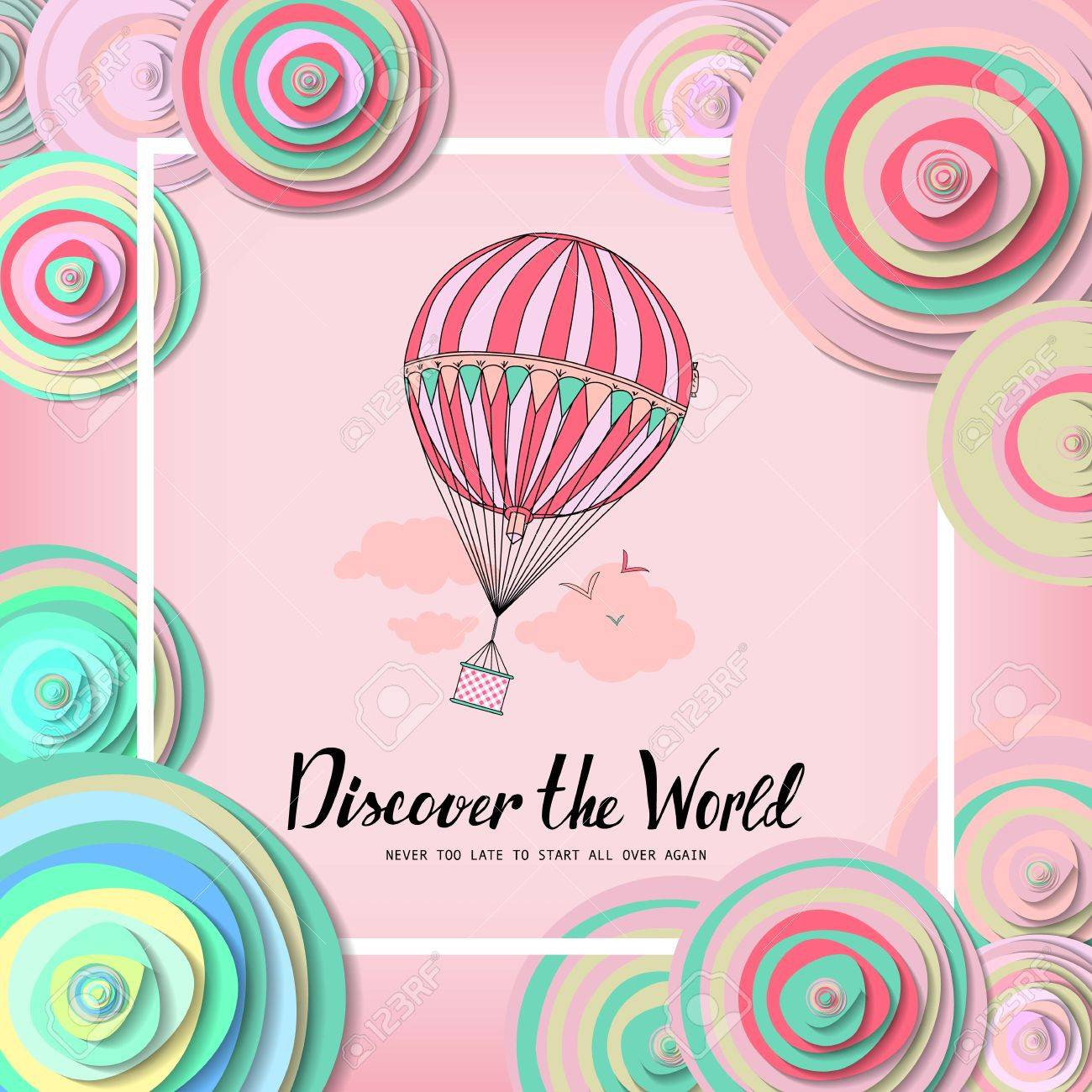 Discover The World Vintage Motivational Postcard With Balloon Wallpaper Flyers Invitation