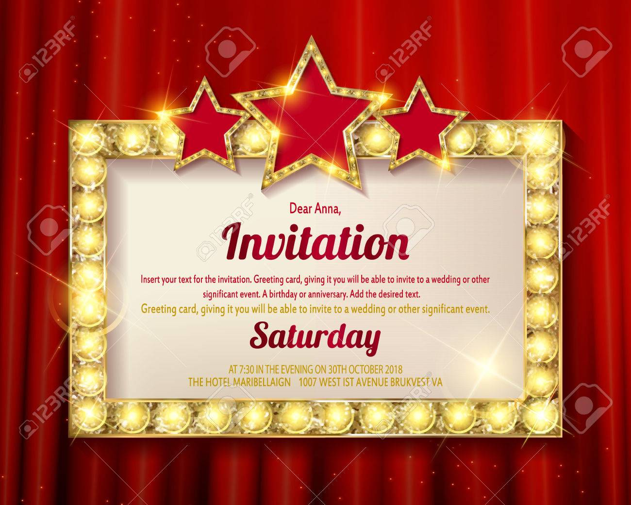 Invitation card. Glowing Golden frame with stars. Flyers, invitation,..
