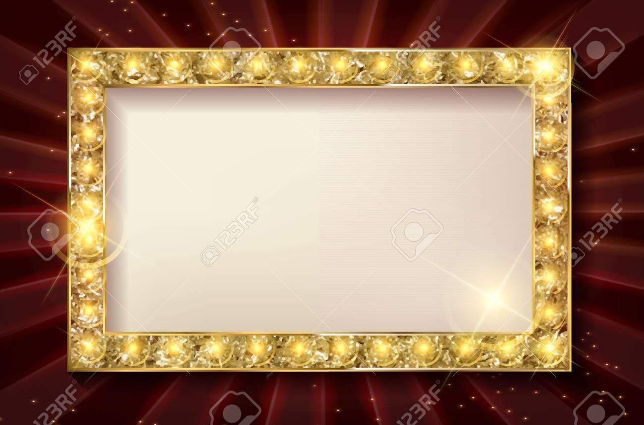 Vector Stage With Red Curtain, Golden Frame And Transparent Shadow ...