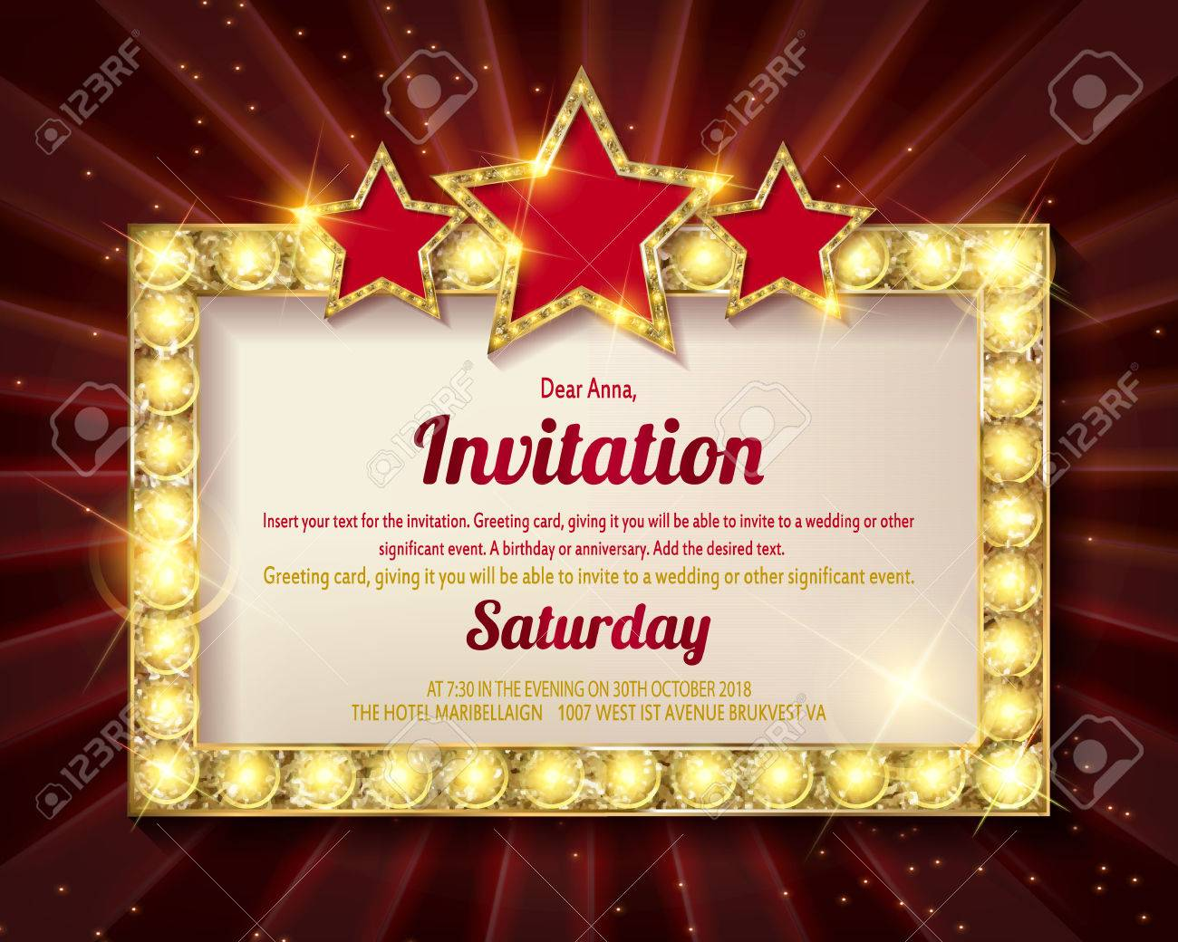 Invitation Card. Glowing Golden Frame With Stars. Flyers, Invitation ...