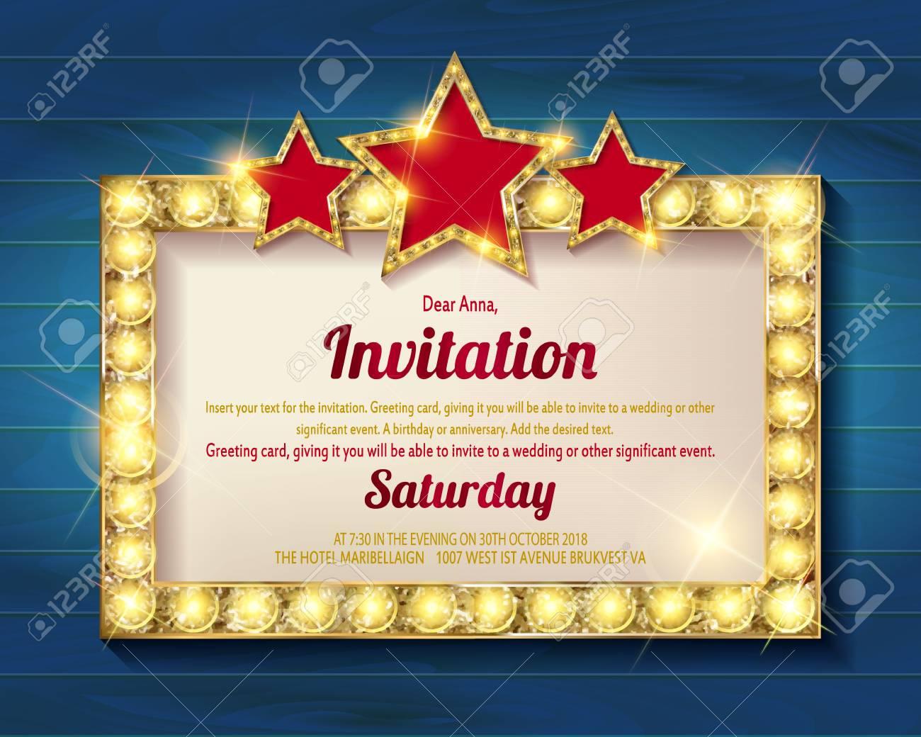 Tarjeta De Invitación. Brillante Marco Dorado Con Estrellas ...