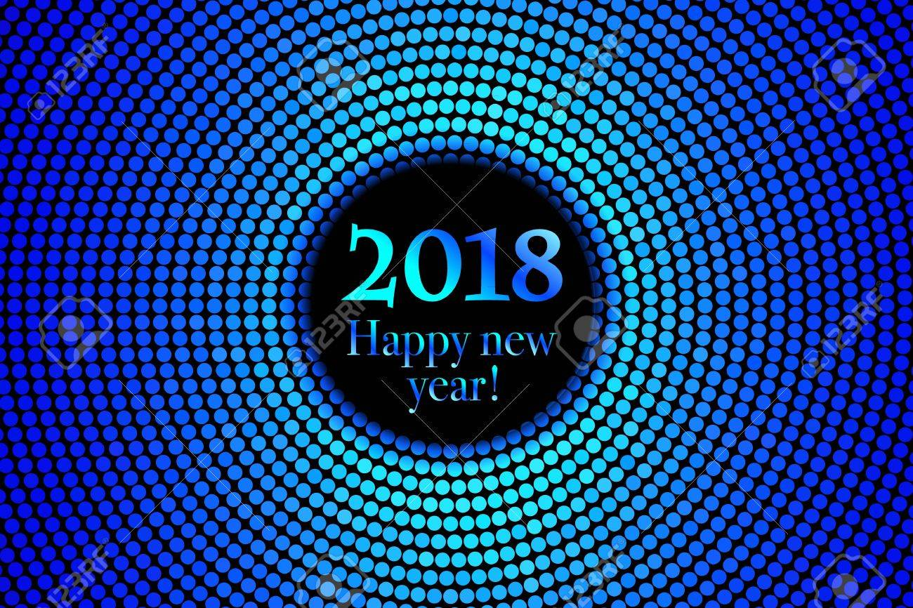 circle banner with year 2018 label happy new year theme with scattered colorful dots