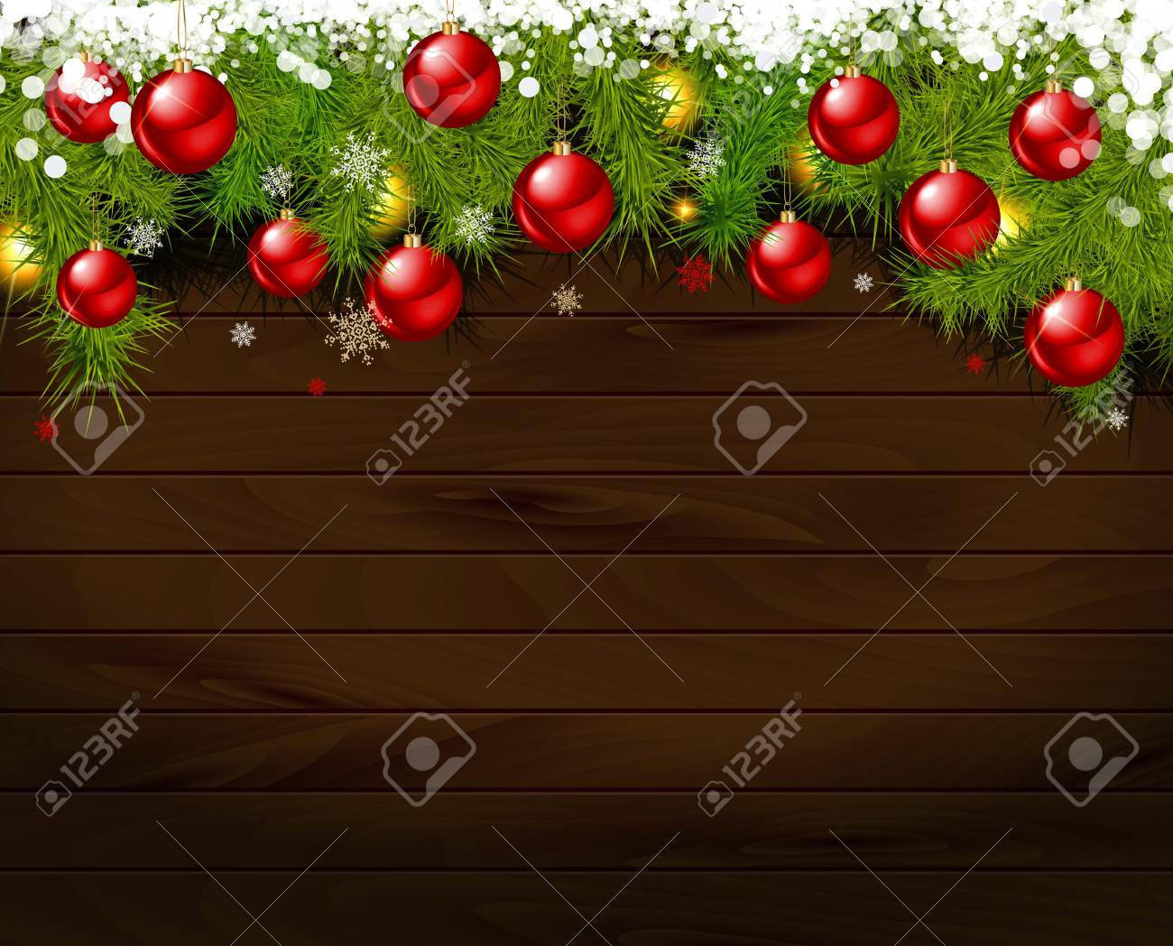 vector vector christmas background christmas balls and christmas tree twigs with lights on wooden background vector illustration