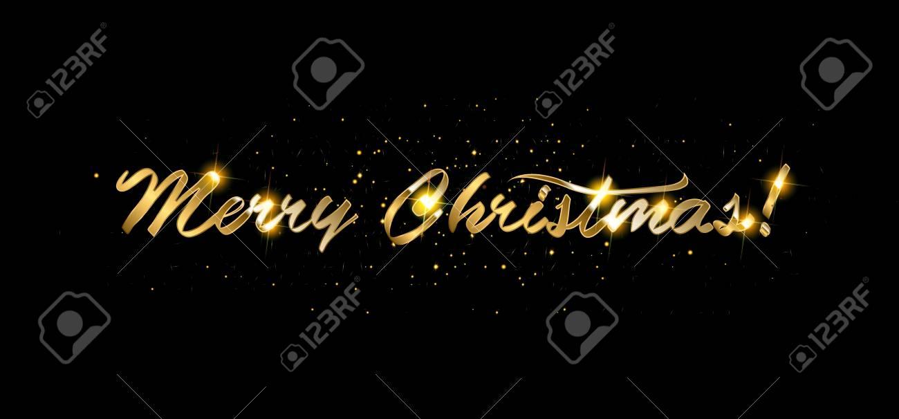 Buon Natale Glitter.Vettoriale Cartolina D Oro Di Buon Natale Glitter Brillanti